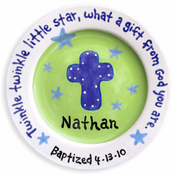 Cross and Stars Baptism Plate (Boy)