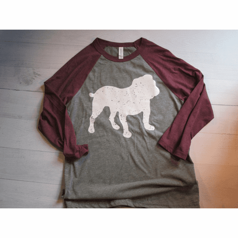 Distressed Bulldog Baseball T