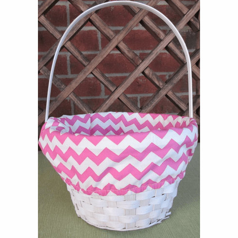 Easter Basket Pink Chevron Liner Personalized