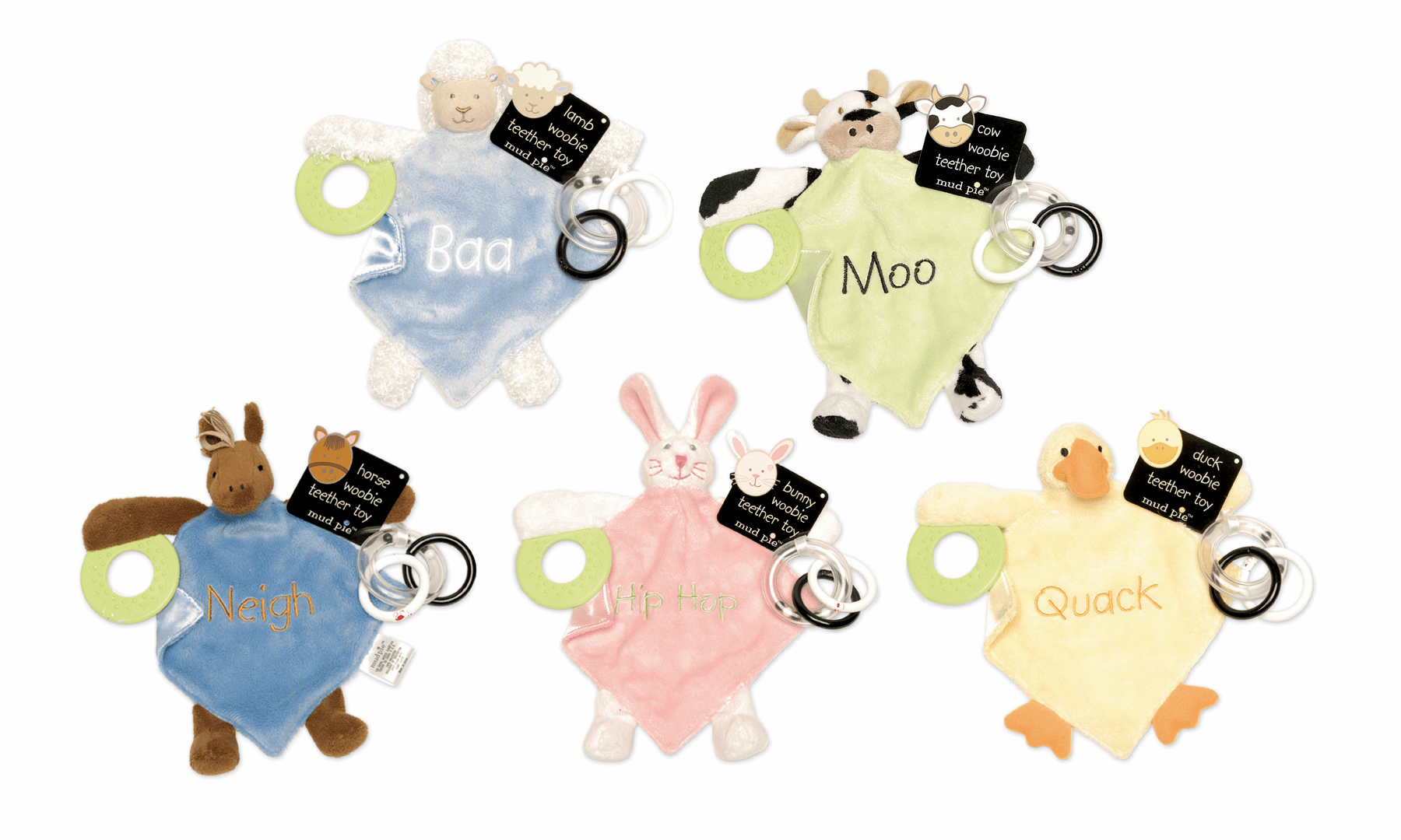 EIEIO Plush Teethers by Mud Pie