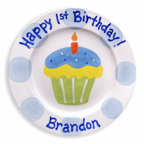 First Cupcake Personalized Plate (Boy)