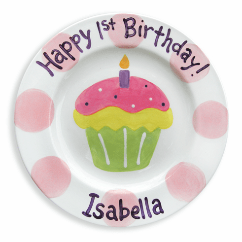First Cupcake Personalized Plate (Girl)