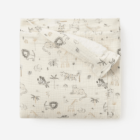 Floral Print Organic Muslin Baby Blanket with Fur Personalized