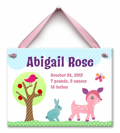 Forest Friends (Girl) Personalized Wall Tile