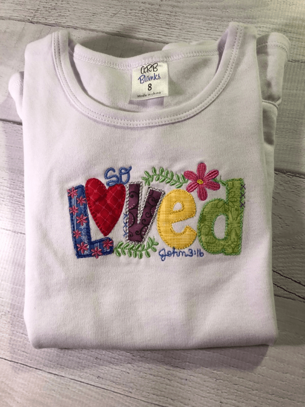 Girl's So Loved Appliqued T-Shirt