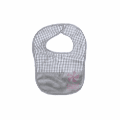 Grey Gingham Baby Bib Personalized