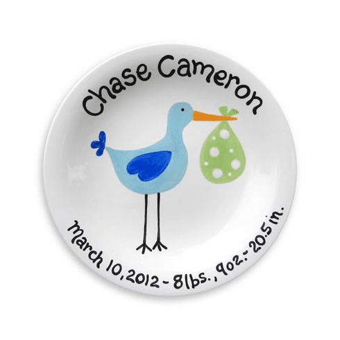 Just Arrived Stork (Boy) Personalized Plate