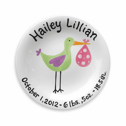 Just Arrived Stork (Girl) Personalized Plate