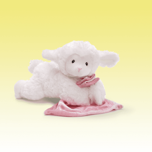 Lena Prayer Lamb Pink Blanket Personalized