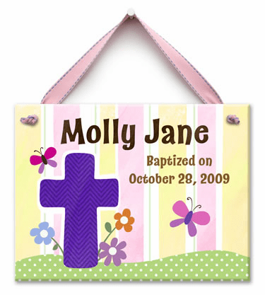 Living Cross Personalized Wall Tile (Girl)
