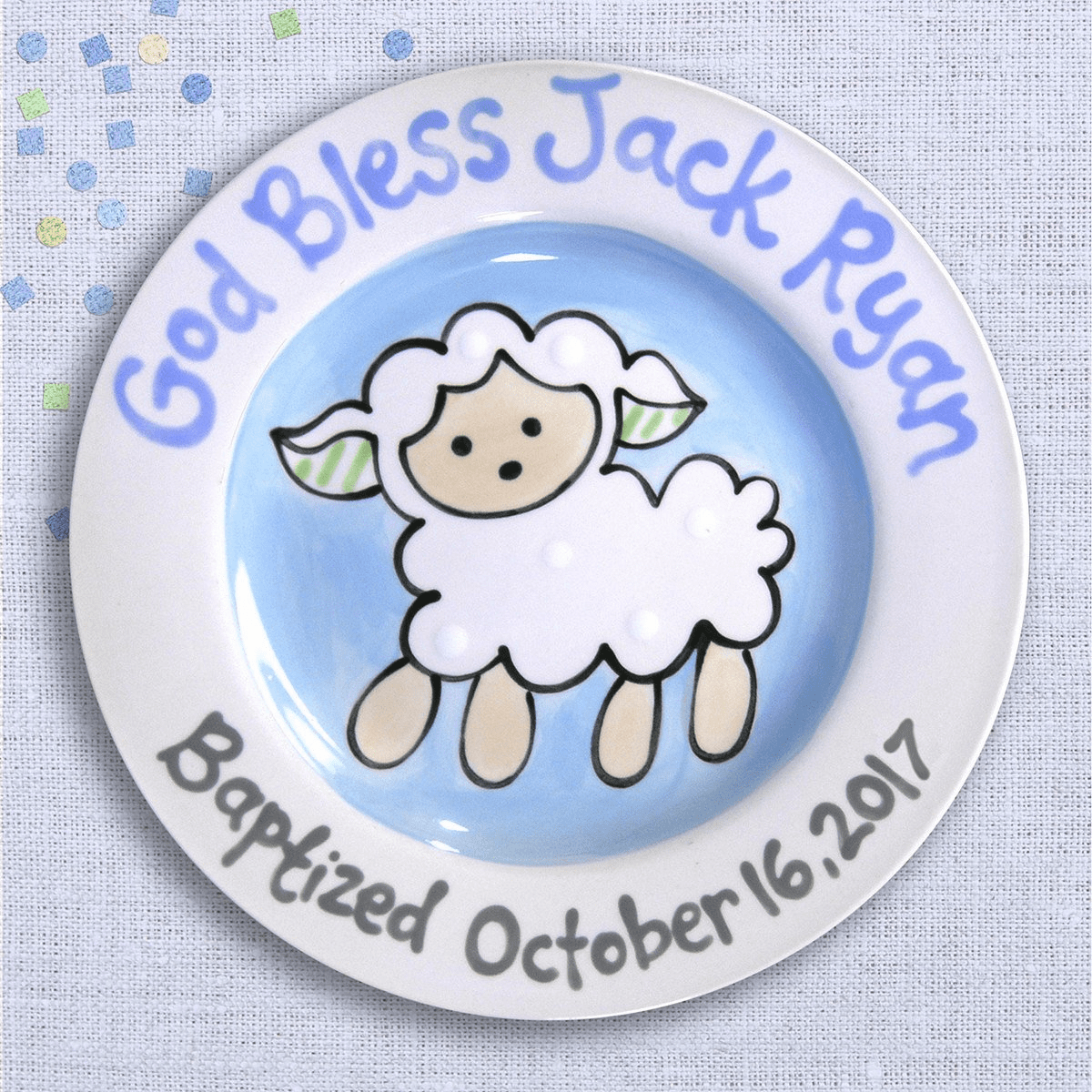 Lovable Lamb Baptism Plate (Boy)