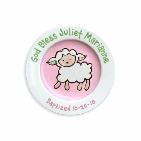 Lovable Lamb Baptism Plate (Girl)