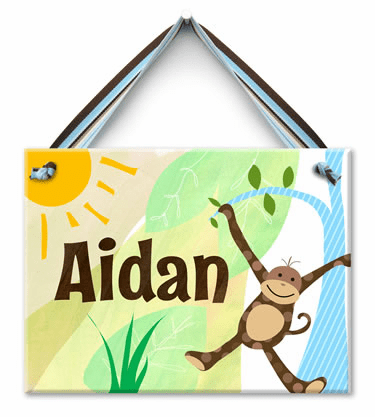Monkeyin' Around Personalized Wall Tile (Boy)