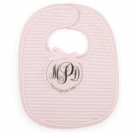 Monogram Me Pink Bib Mud Pie
