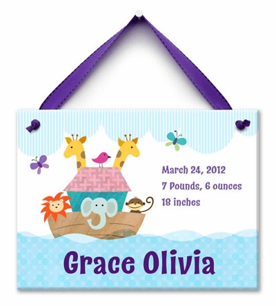 Noah's Ark (Girl) Personalized Wall Tile