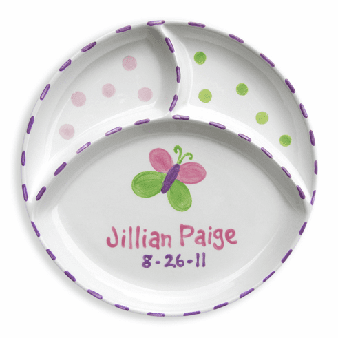 Personalized Butterfly Divided Plate
