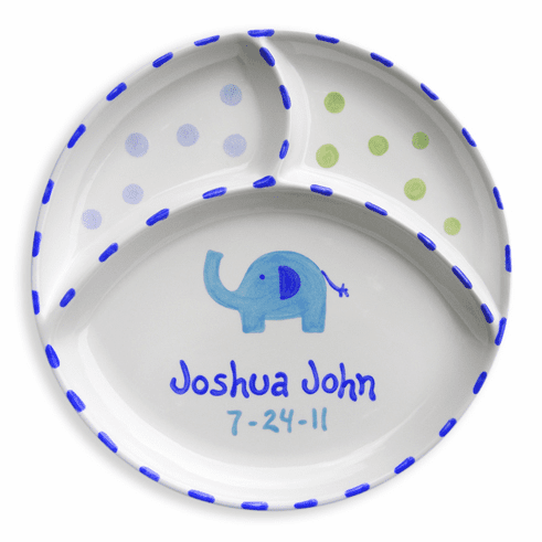 Personalized Elephant Divided Plate