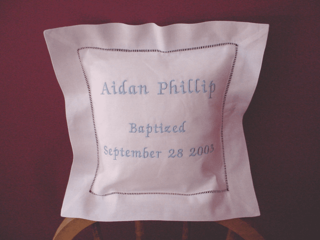 Personalized Linen Baby Pillow
