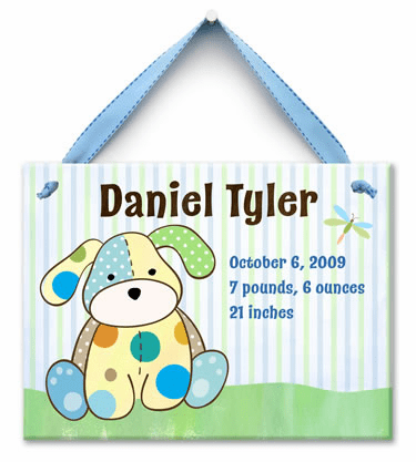 Precious Pup Personalized Wall Tile (Boy)