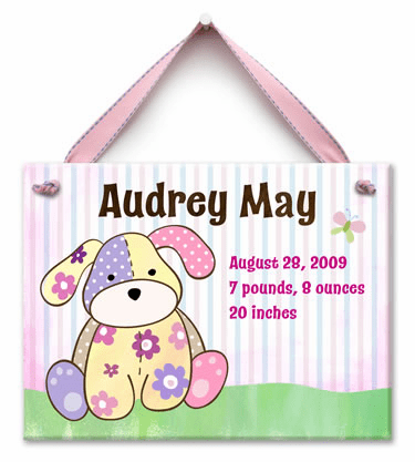 Precious Pup Personalized Wall Tile (Girl)