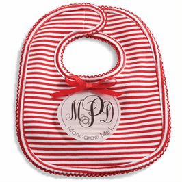 Red Striped Monogrammed Bib