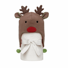 Reindeer Hat with Fleece Blanket