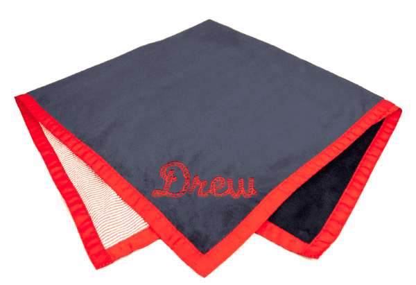 Reversible Red Seersucker Stroller Blanket Personalized