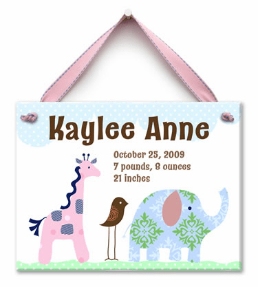 Safari Friends Personalized Wall Tile (Girl)