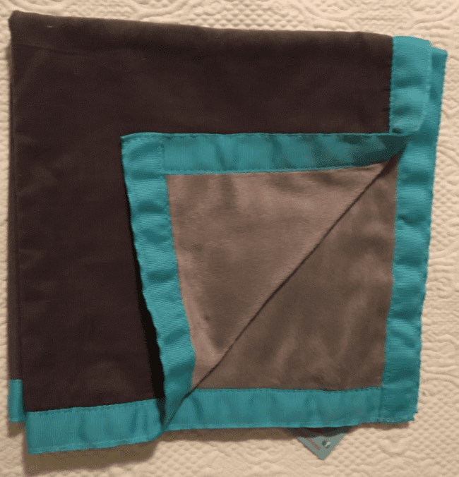 Slate Aqua Corduroy and Minky Baby Burp Personalized