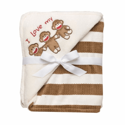 Sock Monkey Stripe Applique Blanket Personalized