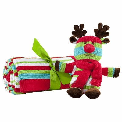 Striped Cable Knit Christmas Blanket with Stuffed Reindeer