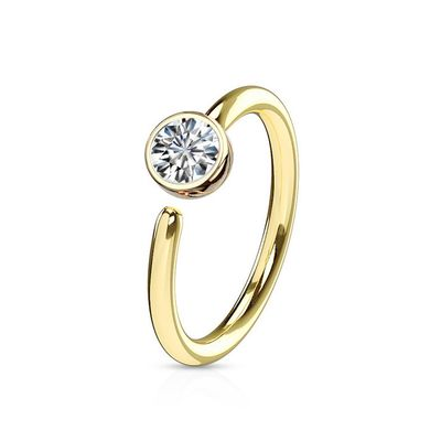 14K Yellow Gold Bezel Hoop Ring for Cartilage, Helix, Tragus, Rook - 16G, 5/16""