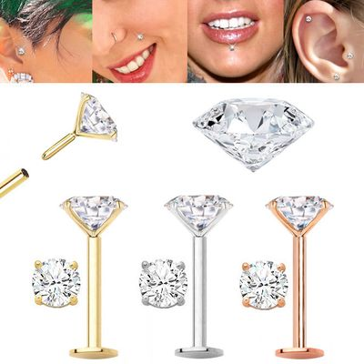 DIAMOND Cartilage, Tragus, Helix, Monroe, Nose Stud / Earring - 18G Flat Back Push-In