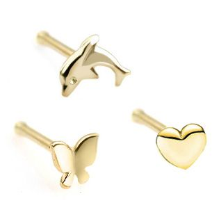 14k Gold 18 Gauge Nose Ring Butterfly Dolphin Heart