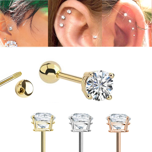 e147ddc12 14K Gold Ball Back Single Earring for Cartilage, Tragus, Helix, Conch,  Earlobe - 18G