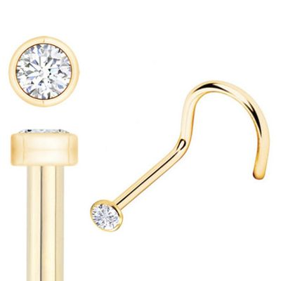(DISCONTINUED) 14K Gold 1.2 mm Bezel Setting Low-Profile Teeny Tiny Nose Screw