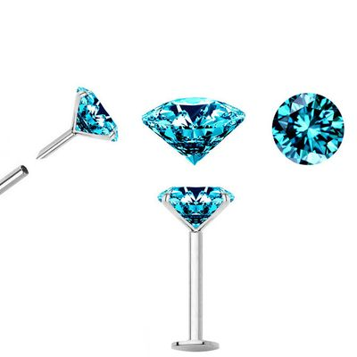 TEAL BLUE Diamond Push-In Stud for Cartilage, Helix, Tragus, Nose - 18G