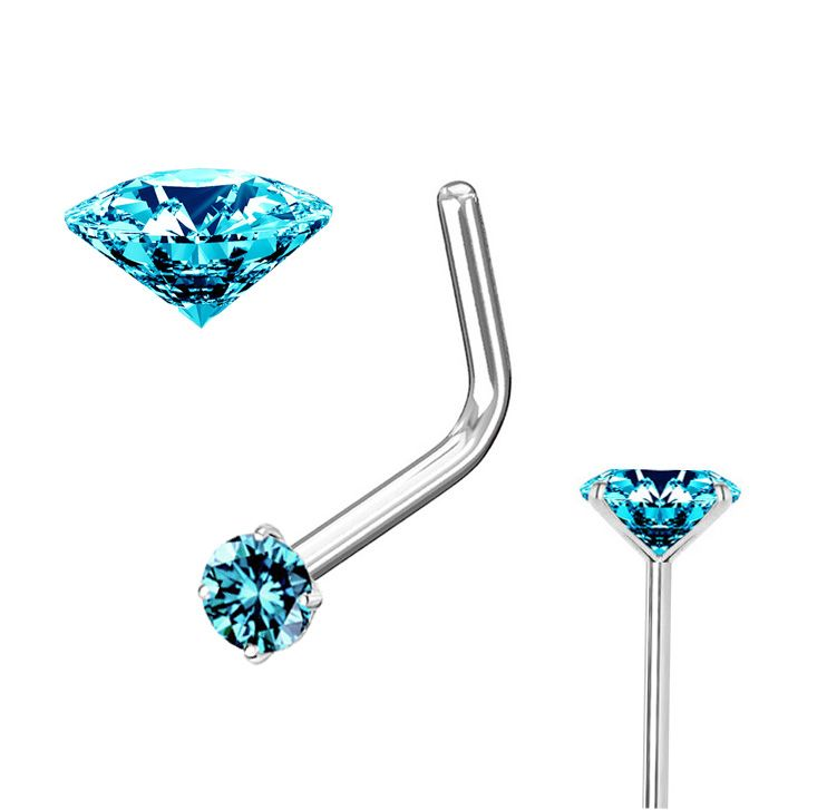 2 5mm Teal Blue Diamond Nose Ring 20g L Shaped