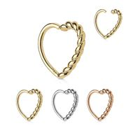 14K Gold Braided Heart Cartilage / Daith Ring - 18G