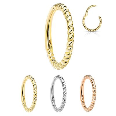 14K Gold Rope Braid Seamless Clicker Ring - Cartilage, Septum, Nose