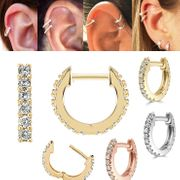 14K Gold Front-and-Back Pave Hoop - Cartilage, Helix, Earlobe