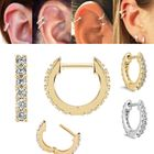 14K Gold Front-and-Back Pave Hoop Single Earring for Cartilage, Helix, Earlobe
