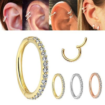 14K Gold Seamless Hinged Pave Clicker Ring for Cartilage, Helix, Daith, Rook, Conch, Earlobe, Nose, Septum