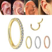 14K Gold Seamless Pave Clicker Ring - Cartilage, Daith, Rook, Nose