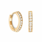 14K Gold Oval Milgrain Pave Hoop Single Earring