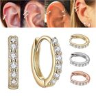 14K Gold Cartilage, Helix Pave Hoop Single Earring / Nose Hoop