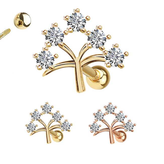 14k Gold Cartilage Helix Tragus Ball Back Single Earring 18g Tree Of Life