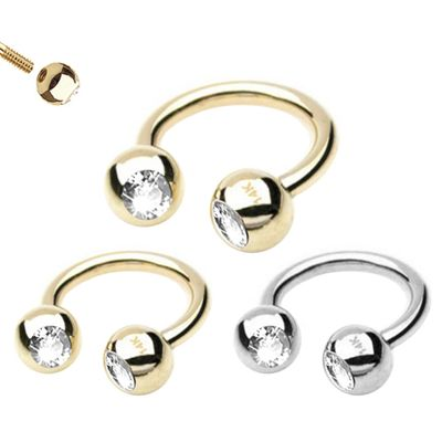 14K Solid Gold Jeweled Circular Ring for Cartilage, Septum, Daith, Rook, Eyebrow, Helix
