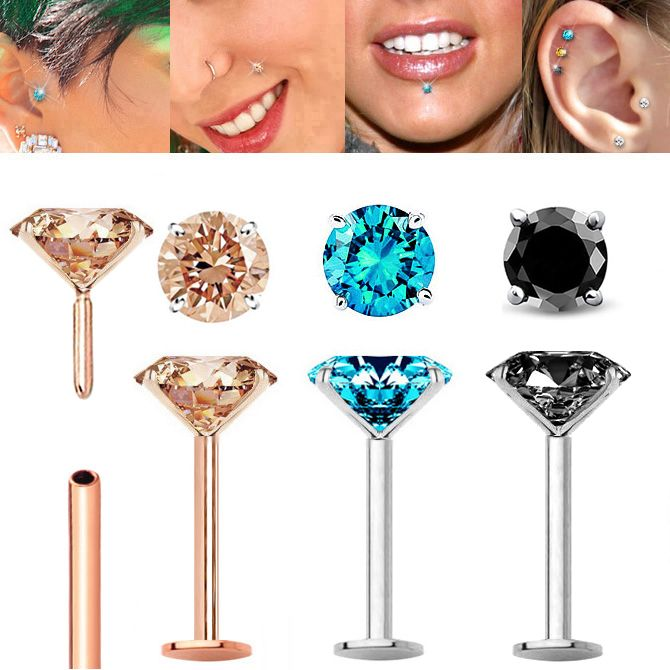 Color Diamond Cartilage Labret Nose Stud Earring Flat Back Push In