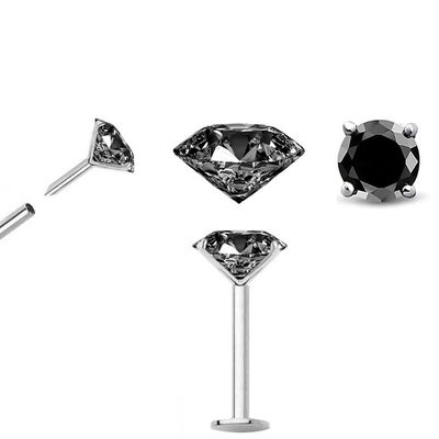 Black DIAMOND Cartilage, Labret, Nose Stud / Earring - 18G Flat Back Push-In